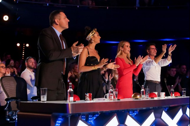 STRICTLY EMBARGOED, NO USE BEFORE 00.01am GMT SATURDAY 23RD MAY 2020. Editorial use only. No book publishing. Mandatory Credit: Photo by Dymond/Thames/Syco/REX/Shutterstock (10655332j) David Walliams, Alesha Dixon, Amanda Holden and Simon Cowell during Antony Hansen's performance 'Britain's Got Talent' TV Show, Series 14, Episode 7, UK - 23 May 2020