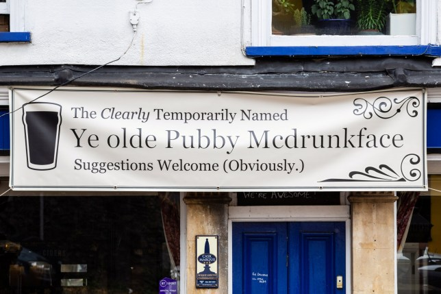 The Colston Arms pub in Bristol which has put up a banner changing its name to 'Ye olde Pubby Mcdrunkface' after calls for places relating to Edward Colston to be changed after his statue was toppled in Bristol centre during a Black Lives Matter protest. Bristol. 30 June 2020.