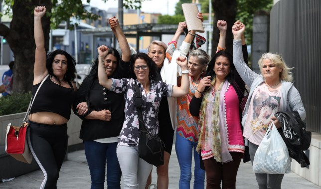 Daughters of convicted rapist James O Reilly (75) pictured outside the Criminal Courts of Justice (CCJ) on Parkgate Street in Dublin following the sentence hearing of their father - who was jailed for 20years for the repeated rape and sexual abuse of his younger sister and his seven(7) daughters over a 23-year period 1977 to 2000.