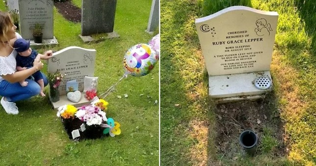 Grave tributes removed (Picture: SWNS)
