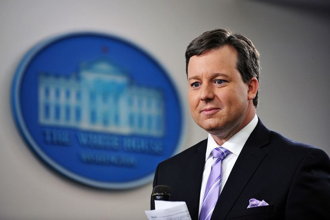 Fox News White House correspondent Ed Henry prepares to do a stand-up December 8, 2011 in the Brady Briefing Room of the White House in Washington, DC. AFP PHOTO/Mandel NGAN (Photo credit should read MANDEL NGAN/AFP via Getty Images)