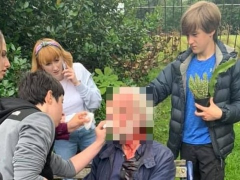 Teens stop to help elderly man covered in blood 'as adults walked past'
