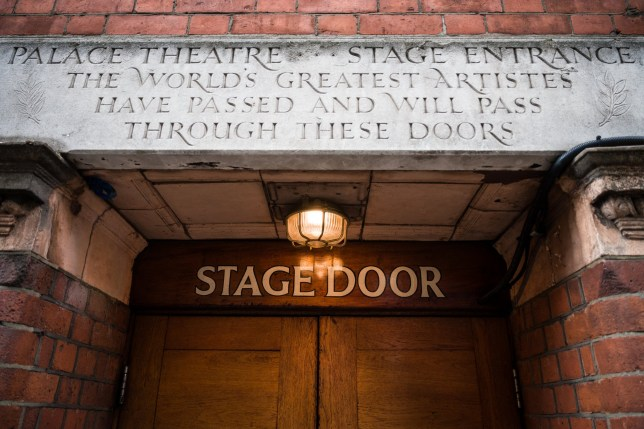 LONDON, UNITED KINGDOM - JULY 02: A carved stone is seen above the stage door of the Palace Theatre on July 02, 2020 in London, United Kingdom. The British government have announced their five-point plan for the reopening of theatres. Many are saying it doesn't go far enough and lacks detail as the Royal Exchange in Manchester enters into consultation on making 65% of its staff redundant. (Photo by Leon Neal/Getty Images)