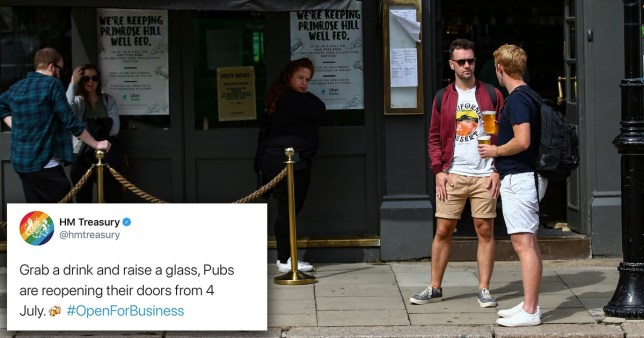 Composite image of government tweet and people outside a pub