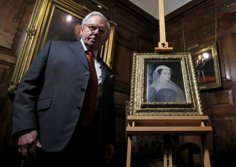 Photo call for historian David Starkey unveiling a rare portrait of Mary Queen of Scots as it goes on public display for the first time at Hever Castle, Hever, Edenbridge, Kent.
