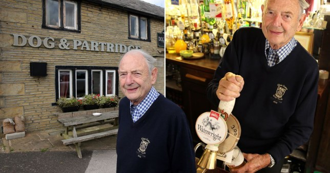 Frank Collins, 91, serving a pint