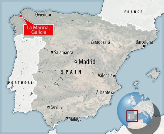 Une carte de l'Espagne avec La Marina en surbrillance