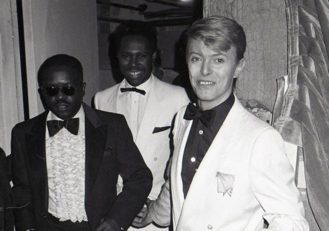 David Bowie with Otis Blackwell and Nile Rogers from CHIC attending the Urban Contemporary Awards at the Savoy in New York City on 1/21/1983 (Photo by Walter McBride/Corbis via Getty Images)
