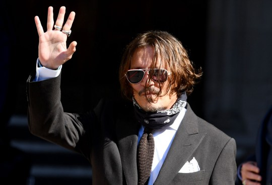 Mandatory Credit: Photo by James Veysey/REX (10707337d) Johnny Depp arrives at The Royal Courts of Justice on the fourth day of his his trial against The Sun newspaper. Johnny Depp v The Sun libel trial, The Royal Courts of Justice, London, UK - 10 Jul 2020 Johnny Depp's trial against The Sun newspaper. Depp is suing the publication over a report by Dan Wootton which alleged Depp had been abusive to his former wife Heard, who's expected to give evidence at some point during the ten day trial. Postponed due from March due to coronavirus, with the trial now to take place with social distancing measures in place.