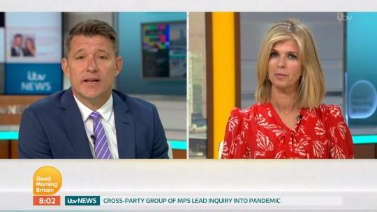 Mandatory Credit: Photo by ITV/REX (10709806c) Ben Shephard, Kate Garraway 'Good Morning Britain' TV Show, London, UK - 13 Jul 2020