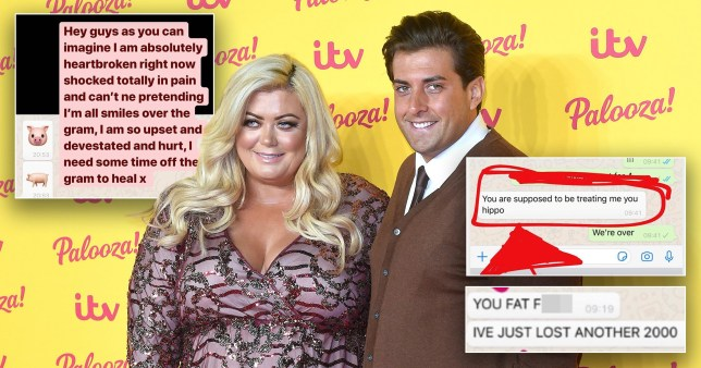 Gemma Collins posts abusive break up texts from Arg (Picture: Rex)