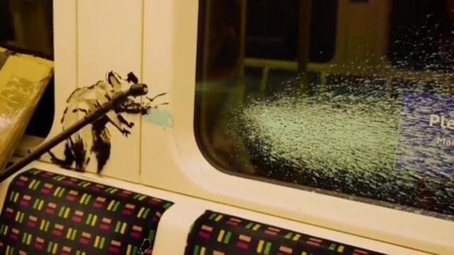 Banksy's artwork on the London Underground