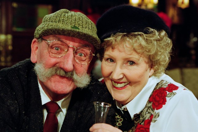Editorial use only Mandatory Credit: Photo by ITV/REX (10597375ge) Ep 3113 Thursday 14th February 2002 It's Valentine's Day Karaoke night in The Woolpack, but while some people are celebrating the occasion, for others the day is destined to end in heartbreak. With Seth Armstrong, as played by Stan Richards ; and Betty Eagleton, as played by Paula Tilbrook. 'Emmerdale' TV Show UK - Feb 2002 Emmerdale, is a British ITV long running soap opera, known as Emmerdale Farm until 1989, set in Emmerdale, a fictional village in the Yorkshire Dales. It was created by Kevin Laffan and was first broadcast on 16 October 1972. It was originally produced by ITV Yorkshire and is still filmed in their Leeds studios.
