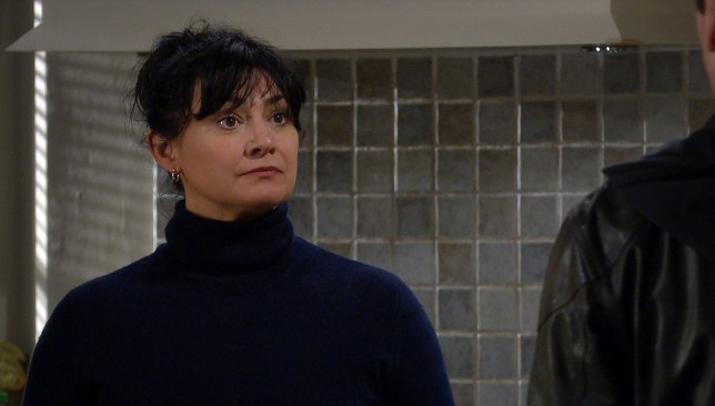 Editorial use only Mandatory Credit: Photo by ITV/REX (10650104aa) Ep 8792 Monday 18th May 2020 Moira Dingle, as played by Natalie J Robb, and Cain Dingle continue to talk about their divorce, they slip back into easy-banter but soon there is an argument shattering their moment. 'Emmerdale' TV Show, UK - 2020 Emmerdale, is a British ITV long running soap opera, known as Emmerdale Farm until 1989, set in Emmerdale, a fictional village in the Yorkshire Dales. It was created by Kevin Laffan and was first broadcast on 16 October 1972. It was originally produced by ITV Yorkshire and is still filmed in their Leeds studios.