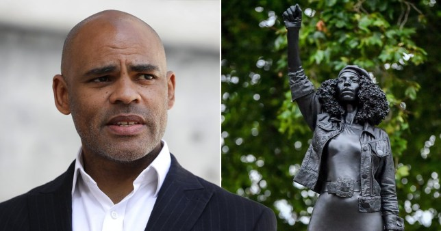 Mayor of Bristol Marvin Rees (left) and a sculpture Black Lives Matter protester Jen Reid who was pictured standing on the plinth of the toppled statue of 17th century slaver trader Edward Colston