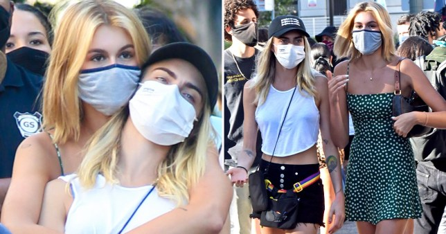 Cara delevingne and Kaia Gerber at BLM protest at LA Hall of Justice