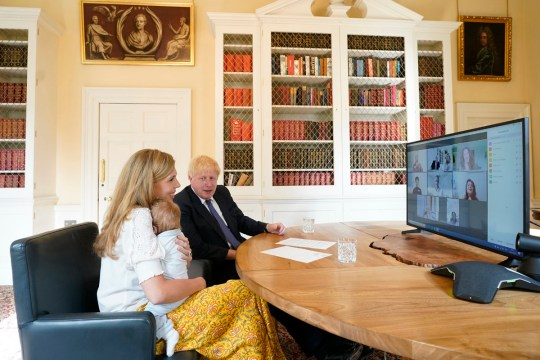 The PM was holidaying with his fiancee Carrie Symonds and their son Wilfred.