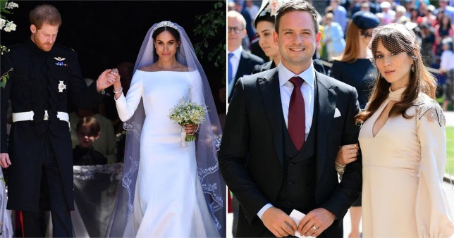 Prince Harry and Meghan Markle on wedding day pictured separtely alongside Patrick J. Adams and Troian Bellisario attending royal wedding
