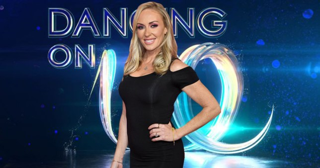 Brianne Delcourt and the Dancing On Ice logo