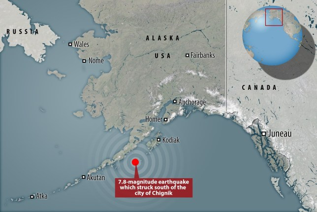 7.8 magnitude south of Chignik in Alaska