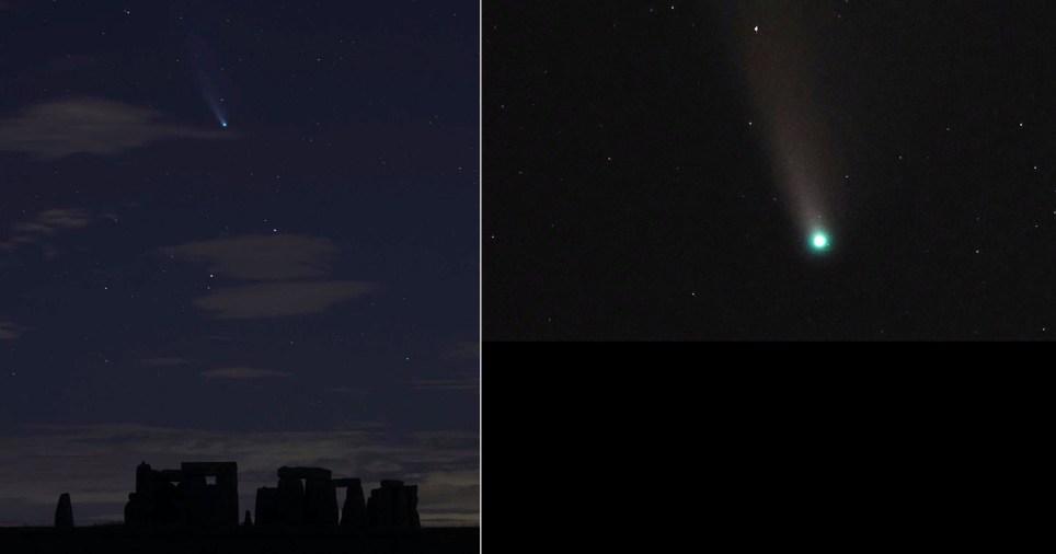 Neowise comet over stonehenge