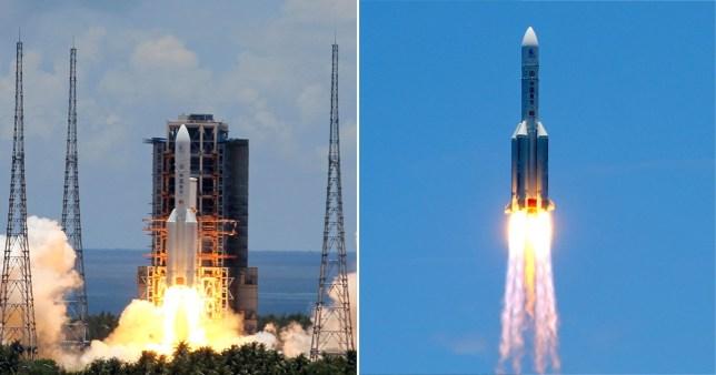 HAINAN, CHINE - 23 JUILLET 2020: La fusée porteuse Chang Zheng 5 (Long 5 mars) avec le rover Tianwen-1 Mars est lancée depuis le centre de lancement spatial de Wenchang pour la première mission chinoise sur Mars.  Roman Balandin / TASS (Photo de Roman Balandin \ TASS via Getty Images)