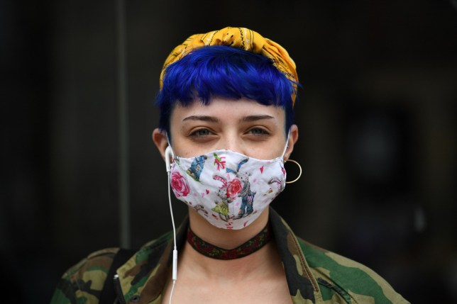 A shopper wears a face mask in the city centre of Sheffield
