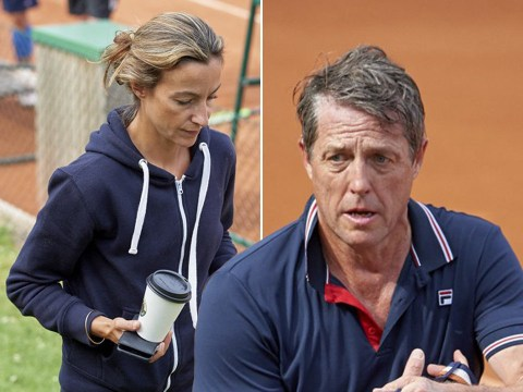 Hugh Grant cheered on by wife Anna Eberstein as he takes part in tennis tournament in Sweden