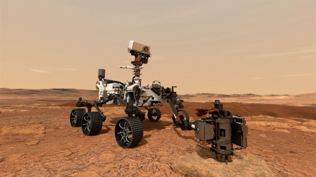 An illustration of Nasa's Mars 2020 rover as it uses its drill to core a rock sample on Mars (NASA/JPL-CALTECH/AFP via Getty)