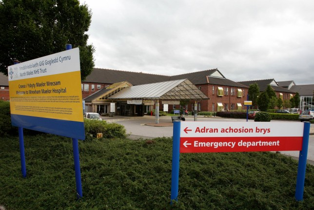 Wrexham Maelor Hospital, in North Wales, where cases of coronavirus have almost doubled in the past two weeks.