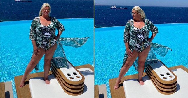 Gemma Collins in swimsuit by the pool