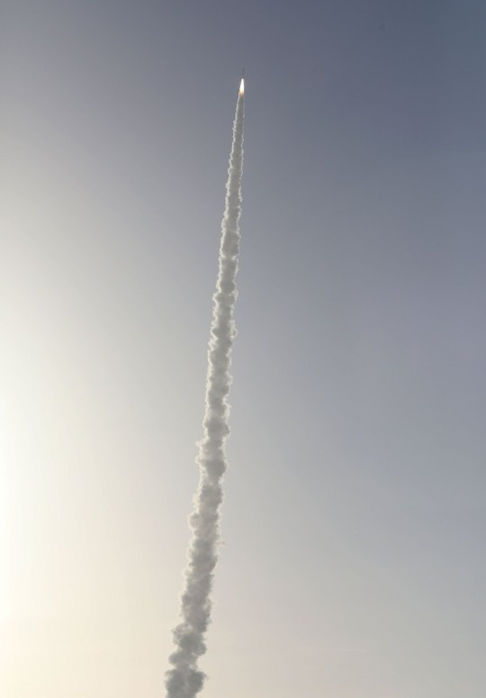 An Atlas V rocket with the Perseverance rover soars to space after lifting off from Launch Complex 41 at Cape Canaveral Air Force Station in Florida on July 30, 2020. - The Perseverance rover will seek signs of ancient life on Mars and collect rock and soil samples for possible return to Earth. The Atlas V is one of the largest rockets available for interplanetary flight, having also launched the InSight and Curiosity to Mars. The launch vehicle is provided by United Launch Alliance. Perseverance is scheduled to arrive at the Jezero Crater on Mars on February 18, 2021. It will also carry the Mars Helicopter as part of a technology demonstration. (Photo by Gregg Newton / AFP) (Photo by GREGG NEWTON/AFP via Getty Images)