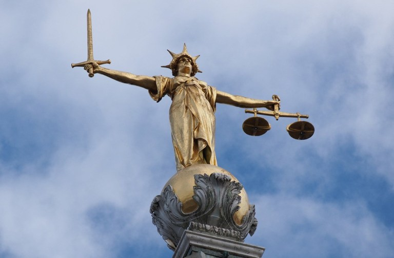 On top of the Old Bailey criminal court in London