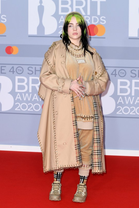 LONDON, ENGLAND - FEBRUARY 18: (EDITORIAL USE ONLY) Billie Eilish attends The BRIT Awards 2020 at The O2 Arena on February 18, 2020 in London, England. (Photo by Gareth Cattermole/Getty Images)
