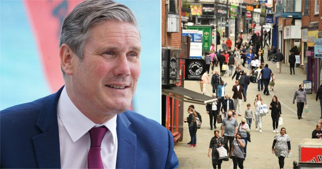 Composite image Keir Starmer and people in Manchester