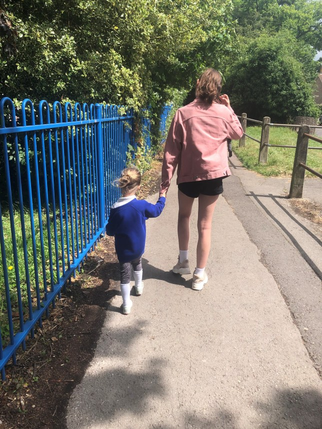 Ruby walking to school with her little sister Mabel