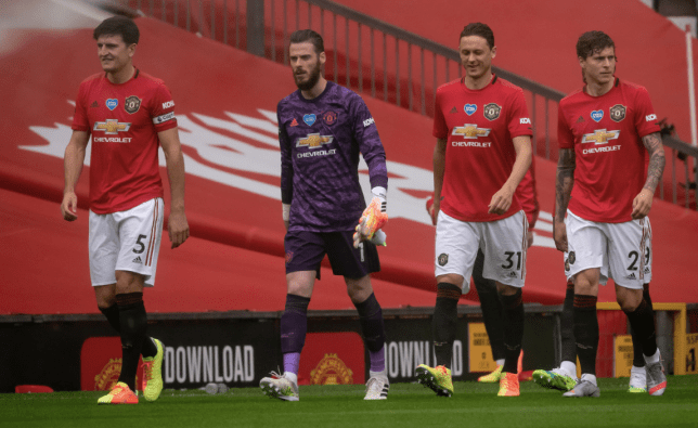 Harry Maguire, David de Gea, Nemanja Matic and Victor Lindelof walk off the pitch after Manchester United's Premier League win over Bournemouth
