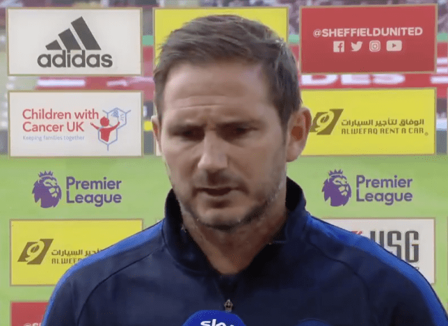 Chelsea manager Frank Lampard speaking to Sky Sports after the side's defeat to Sheffield United in the Premier League