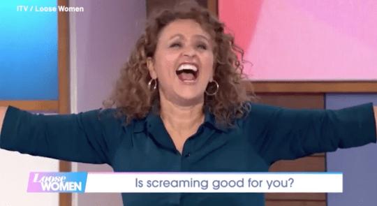 Nadia Sawalha screaming on Loose Women