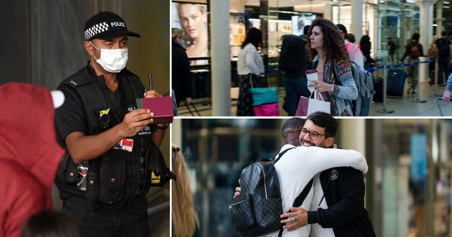 Travellers hug at the airport as police watch on