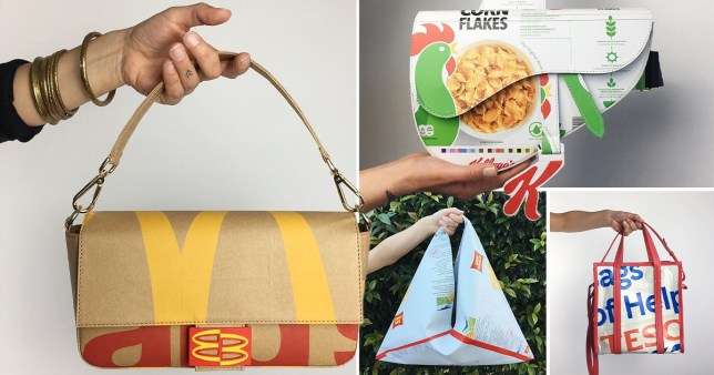 Bags made from food wrappers and cartons