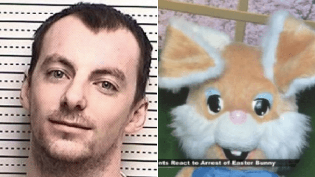 Photo of Daniel Sanderson next to photo of Easter bunny