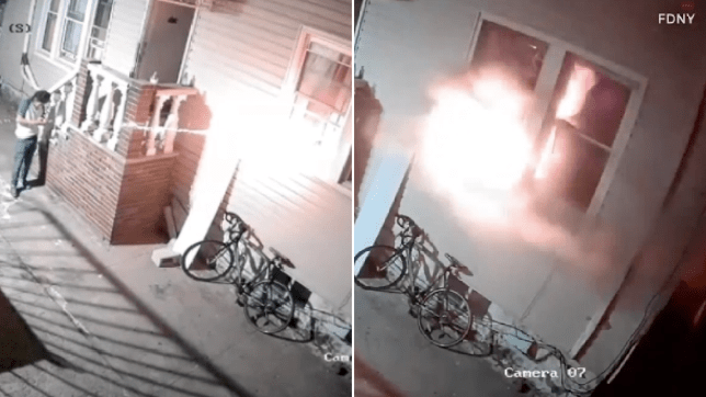 Grabs of Damien Bend setting his own home ablaze with illegal firework