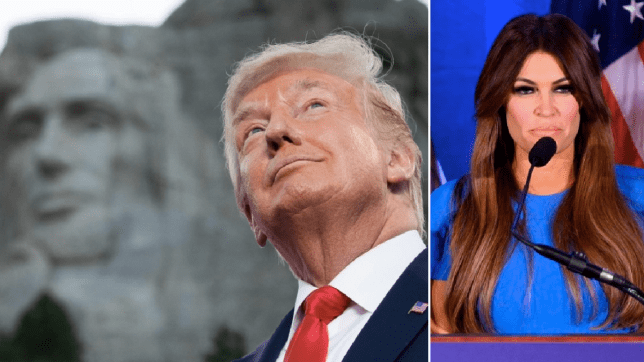 Photo of Donald Trump at Mt Rushmore next to photo of Kimberly Guilfoyle