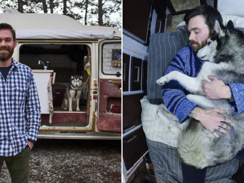 Student saves $18,000 in rent after moving into camper van with his beloved husky