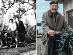 Emotional moment grandfather, 90, is reunited with beloved motorbike after 60 years apart