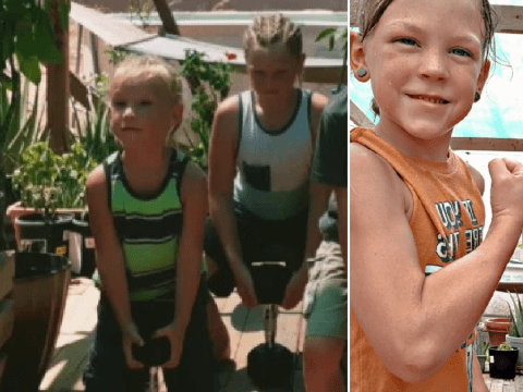 Bodybuilder mom lets son, 3, lift weights and says clean-eating and protein shakes gave her boys aged 7 and 10 'insane abs'