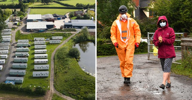AS Green and Co on Rock Row Farm, in Herefordshire, two people walk with masks after a virus outbreak
