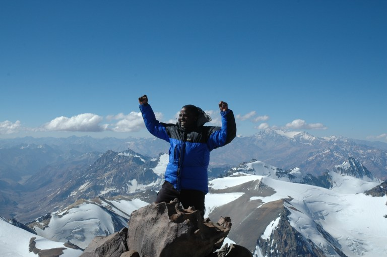 Feeling on top of the world on his way to the summit of Aconcagua, the highest mountain in South America at 22,841 feet or 6,962 metres (Picture: Sibusiso Vilane)