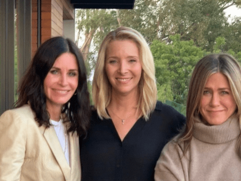 'Friends don't let friends skip elections': Jennifer Aniston, Courteney Cox and Lisa Kudrow reunite to implore fans to register to vote